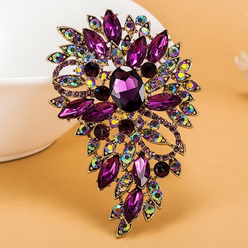 Luxurious champagne Stars Purple Brooch Bouquet Shiny Brand Austrian Crystal Hijab Pins And Broaches Very Nice