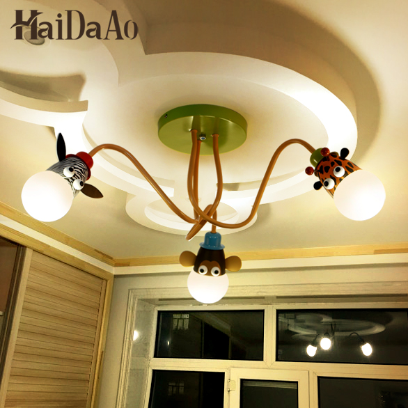 LED cartoon children's room lamp bedroom ceiling lamp boy girl warm personality kindergarten children lamps creative cartoon baby cute led act the role ofing boy room bedroom chandeliers children room roof plane light absorption