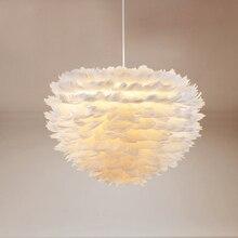 Dekoracyjny nowoczesny kwiat biały pióropusz wisiorek z piórkiem światła LED projektant foyer salon jadalnia wisząca lampa wisiorek z piórkiem