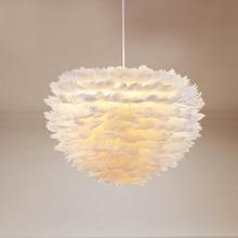 Dekorative moderne weiße blume plume feder anhänger licht LED designer foyer wohnzimmer esszimmer hängen licht feder anhänger lampe