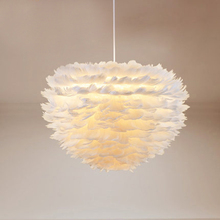 Lámpara colgante de pluma de plume de flor blanca moderna decorativa, LED de diseñador, para comedor, luz colgante de pluma