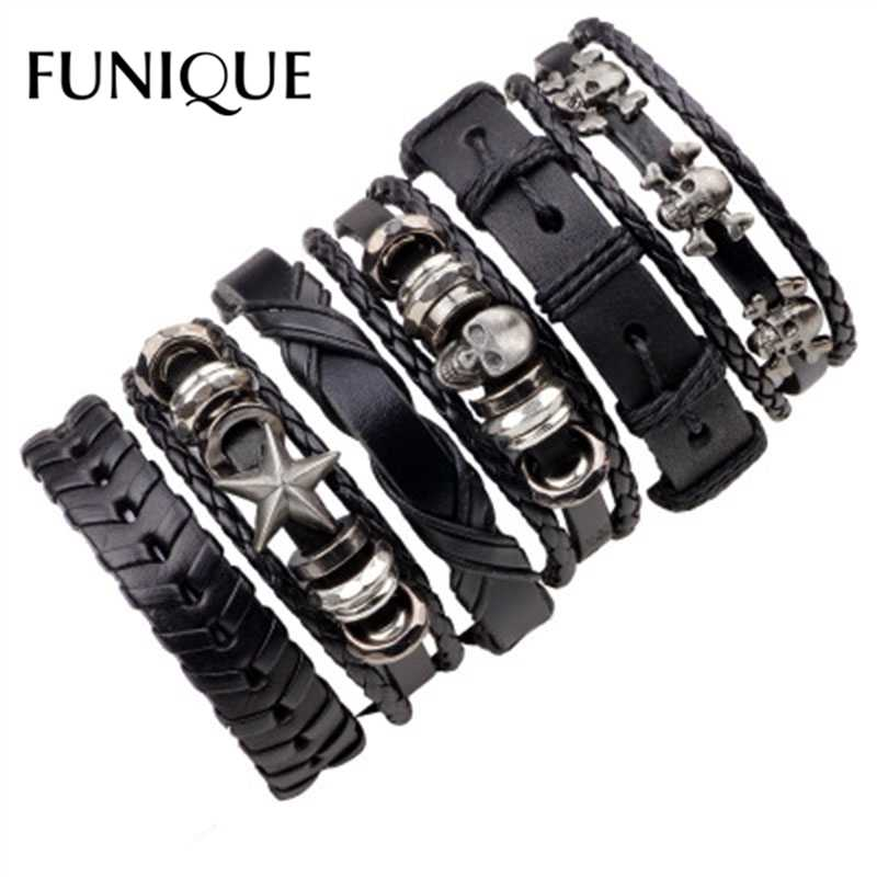 FUNIQUE 1Set/5-6PCs Punk Rock Skull Star Leather Bracelets For Men Women Gothic Braided Rope Jewelry Gifts Multi Charm Bracelet