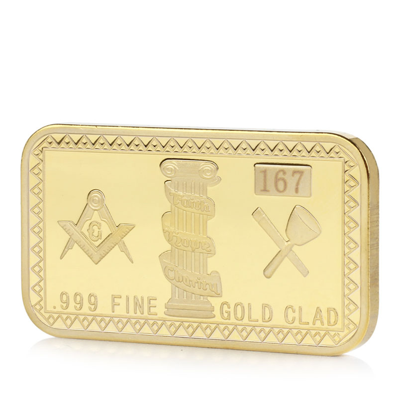 coins Gold Plated Masonic Commemorative Challenge Coin Collection Collectible Physical Gift