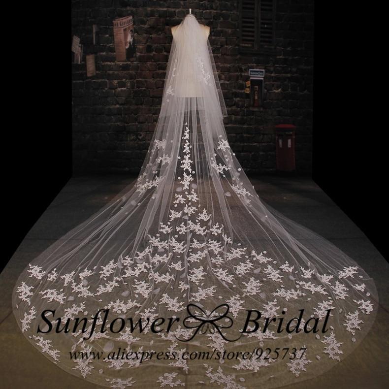 Online get cheap bridal gown veil for Long veils for wedding dresses