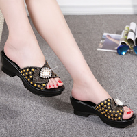 Diamond Rhinestone Genuine Leather Summer Shoes Mother's Fashion Outdoor Sandals Women's Large Size 40 42 Cool Slippers