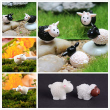 One Or 5pcs Kawaii Mini Sheep Animals Miniatures Home Micro Fairy Garden Figurines Home Garden Decor DIY Accessories(China)
