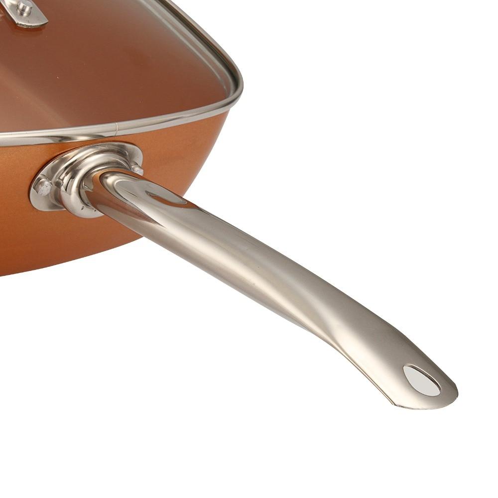4in1 cuivre carré poêle panier à frire plateau à vapeur antiadhésif verre couvercle frire filtre panier vapeur Rack batterie de cuisine Set fournitures de cuisine - 5