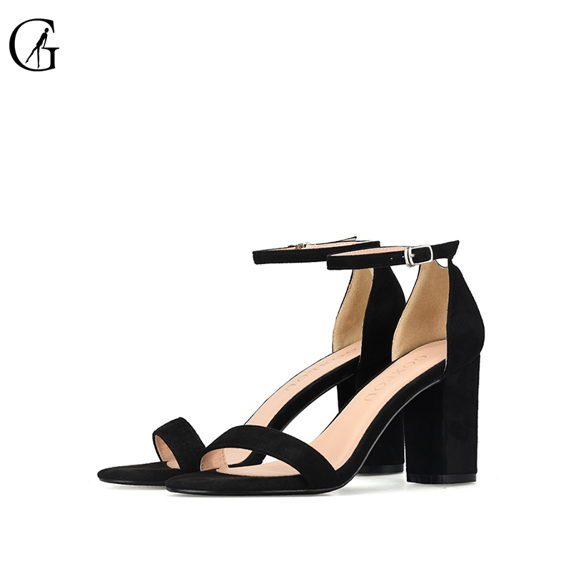 GOXEOU 2018 Ankle Strap Heels Women Sandals Summer Shoes Women Open Toe Chunky High Heels Party Dress Sandals size 42 43 45 46 gold women sandals wedding party high heels cross straps bridal party sandal shoes womans size 11 shoes open toe ankle strap