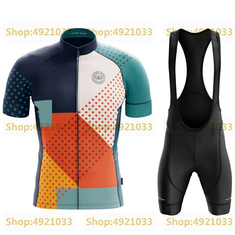 Victory Chimp Cycling Sets 2019 New Short Sleeve Cycle Jersey Suit Breathable Gel Pad Bib Shorts Tuta Da Ciclista RBX Sportsuit