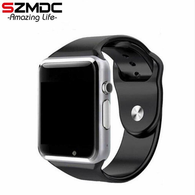 SZMDC A1 reloj inteligente con pasómetro Cámara SIM tarjeta inteligente para Huawei Xiaomi HTC teléfono Android mejor que GT08 DZ09
