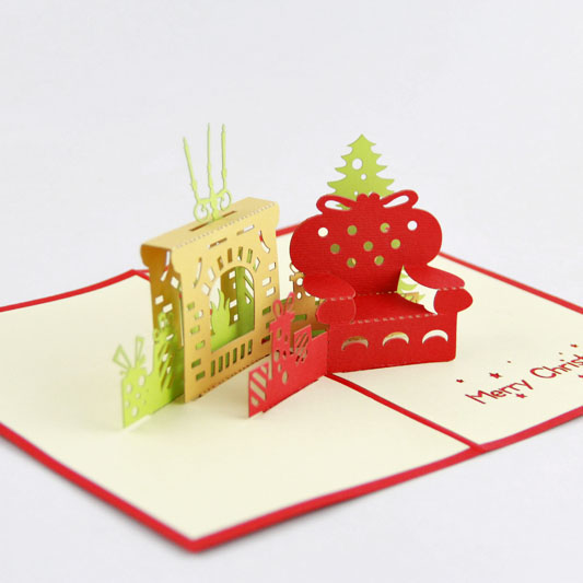 Christmas fireplace gift /3D  kirigami card/ handmade greeting cards gift for men  Free shipping 30pcs in one postcard take a walk on the go dubai arab emirates christmas postcards greeting birthday message cards 10 2x14 2cm