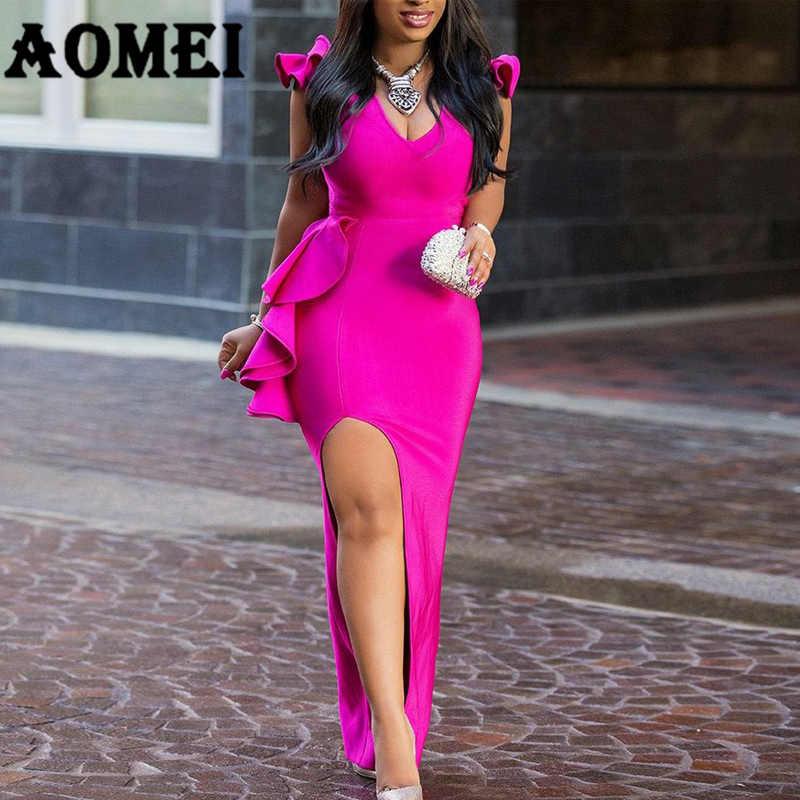 Для женщин длинные вечерние платья сексуальные платья с оборками высокого Разделение плотные женские элегантные вечерние туфли с вечернее, макси, обтягивающее платье-туника Femme халат сезон: весна–лето