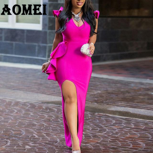 Women Long Party Dress Sexy Ruffle High Split Tight Lady Elegant Dinner Evening Maxi Slim Bodycon Tunic Femme Robe Spring Summer