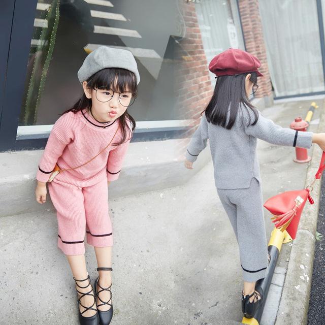 Conjuntos de roupas meninas inverno malha moda terno de Manga Longa crianças roupas de gola alta meninas roupas pulôver rosa crianças terno do esporte
