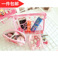 IVYYE 3 Kits Kanahei Fashion Anime Cosmetic Bags PU Zipper Travel Makeup Bag Storage Pouch Wash Toiletry Girl New