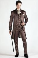 Embroidery Groomsmen Mandarin Lapel Groom Tuxedos Chocolate Men Suits Wedding/Prom Best Man Blazer (Jacket+Pants+Vest) C213