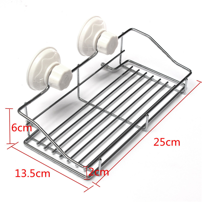 High Quality Bathroom Kitchen Strong Suction Cup Metal Holder Storage Basket Shelve Organizer Durable To Use