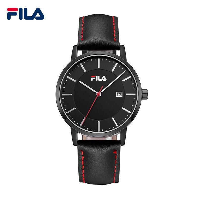f12da88ee0d Fila de la Alta Calidad de Lujo Top Marca Moda Casual Fecha Auto Correa de Cuero  Reloj de Los Hombres Reloj de Las Mujeres Reloj de pulsera de Cuarzo ...