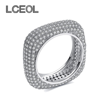 LCEOL  New Design! Luxury Jewelry CZ Diamonds Ring White Gold Color Full Inlay Clear Diamante Square Wedding Rings for Women