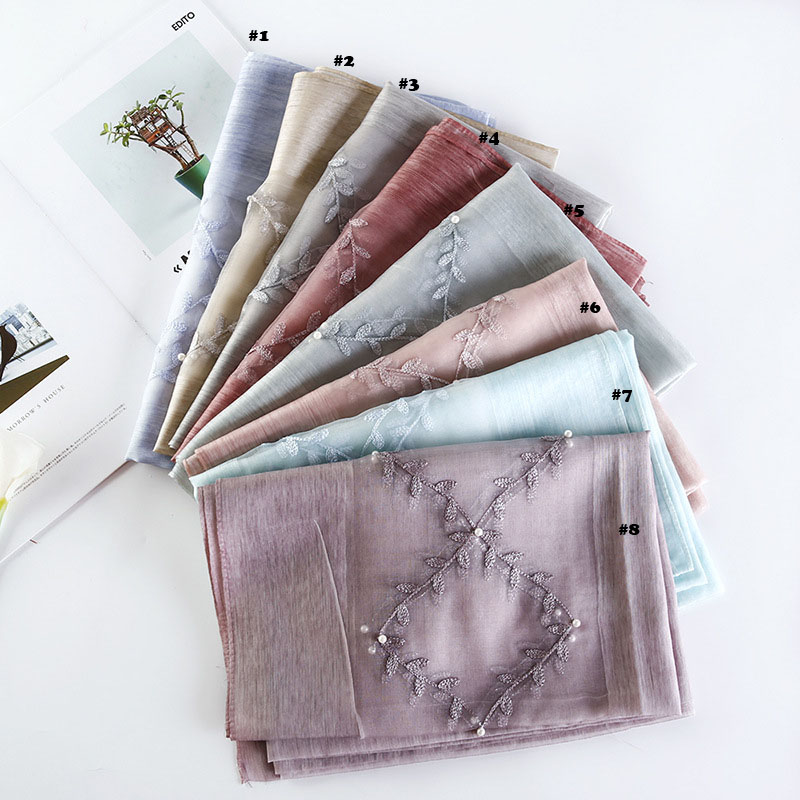 2018 Newest Women Silk Wool Scarf Embroidery Pattern Pearl Scarf 8Colors 5PCS/LOT