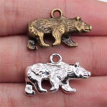WYSIWYG 10pcs 24x15mm 2 Farben Antike Bronze Überzogene Anhänger Charm Bär Anhänger Bär Polar Charme Anhänger bär