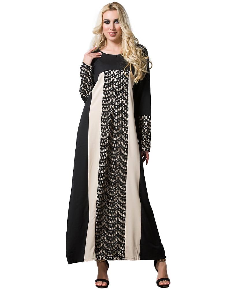 Women Muslim Robe Lace Long Sleeve Zipper Front