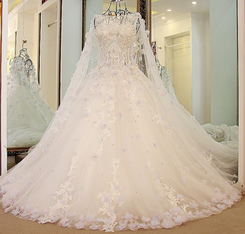 Image 3 - LS54770  Luxury Bridal Dress With Long Cape Ball Gown Tulle Corset Back Bling Luxury Wedding Dress Long Traindress childrendress shirt sleeve measurementdresses warehouse -