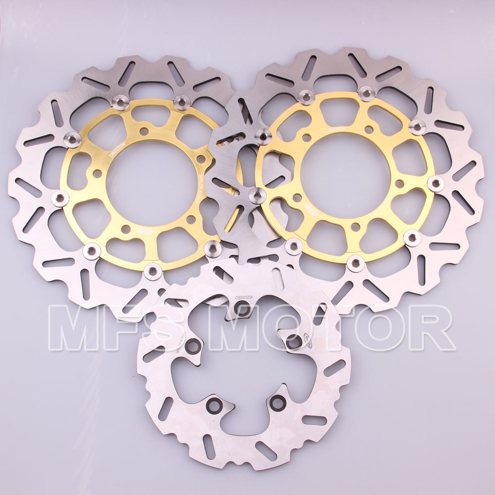 цены  Front Rear Brake Discs Rotor For Suzuki GSXR 600 750 2006 2007 GSXR 1000 2005 2006 2007 2008 GSXR 1000 05 06 07 Gold