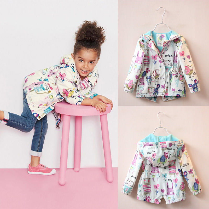 2016 Kids Girls Coat Clothing Tops Long Sleeve Outfits Cute Cute Print Jacket Coat Hooded Spring Fall Girl Outerwear