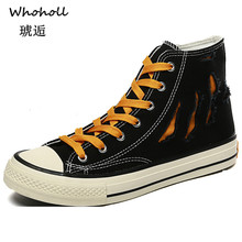 Whoholl New 2019 Fashion High Top Men Shoes Canvas Casual for Autumn Winter Male Footwear Patchwork Plus Size 39-44