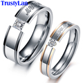 TrustyLan His And Hers Promise Ring Sets Stainless Steel Wedding Bands With CZ Crystal Men's Jewelery Rings For Women And Men