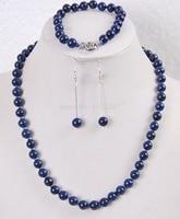 Palavra Amor mulheres Moda Jóias Dom mulheres Jóias set 8mm Egípcio Lapis Lazuli Rodada Beads gem colar pulseira brincos N