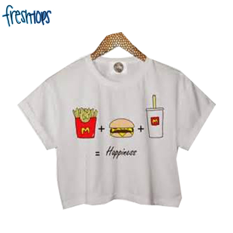 ca3ad6c2c7 F1010 mujeres camiseta cultivos alimentarios moda estiramiento hamburguesa  chips Camisetas Tees mujeres Tops