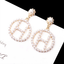 Korean new letter anti-allergy European and American exaggerated fashion Pearl circle earrings for women