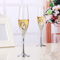 2pcs Set Wine Glass Goblet Heart Shaped Durable For Wedding Engagement Champagne #1