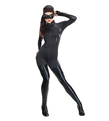где купить Zentai Cosplay Suit Cool Catwoman Super Hero Moive Cosplay Black Spandex Lycra Unisex Halloween Zentai Suit по лучшей цене