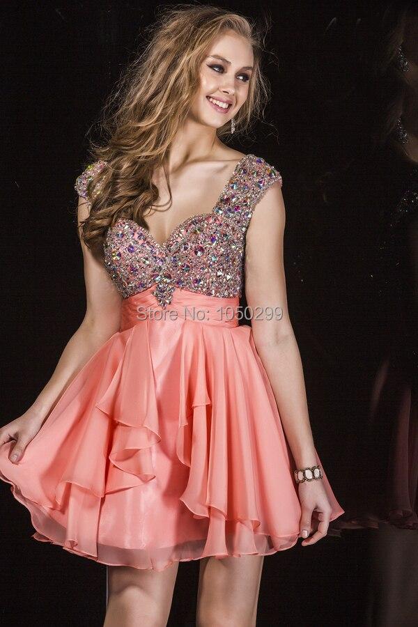 Lindo color Coral gasa cintura imperio vestidos fiesta Rhinestone ...