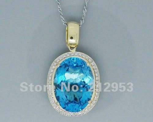 18.50Ct Genuine Natural Blue Topaz Pendants Solid 14Kt Yellow Gold Diamond Gemstone Natural Stone Pendant Hot Sale