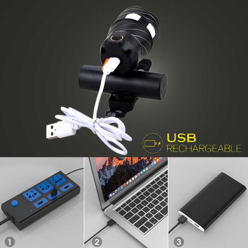 1000 LM XM-L T6 LED Регулируемый лампы 3000 мАч аккумуляторная батарея задний фонарь USB линии спереди велосипед фар свет масштабируемые