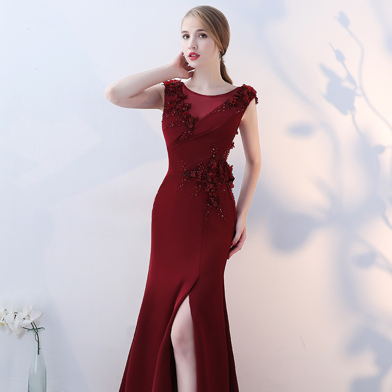 Sexy Sheer Neck Flower Beading Lace Vestidos De Festa Crystal Side Split Mermaid Formal Long Evening Dresses Robe De Soiree