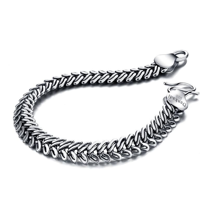 925Sterling silver; Solid design;sterling silver jewelry pure silver bracelet;men brand jewelry;Acceptable wholesale; bracelet
