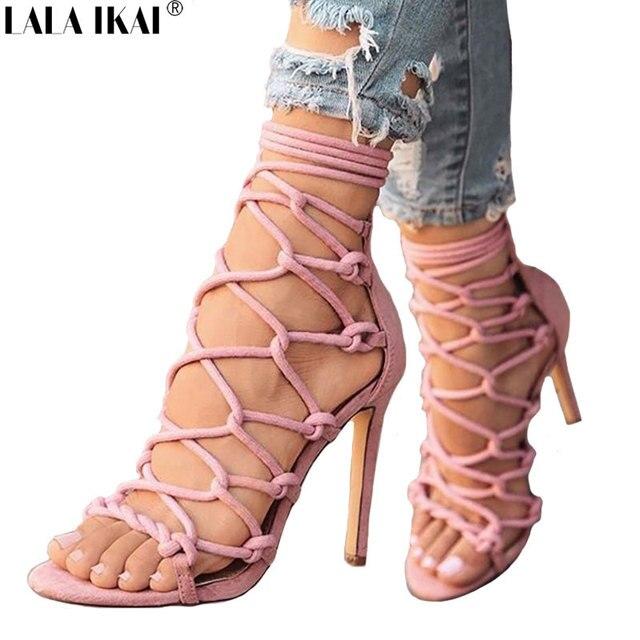 LALA IKAI tacones altos Sandalias Mujer verano Gladiator Sandalias de tacón  alto plataforma de los zapatos d19a57a30895