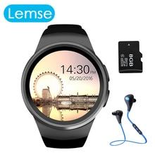 Lemse kw18 smart watch für apple android ios telefon runden bildschirm pulsmesser bluetooth smartwatch unterstützung sim tf karte