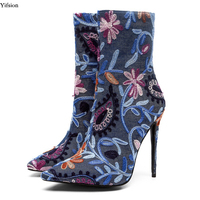 Yifsion Women Embroidered Denim Ankle Boots Thin High Heel Pointed Toe Dark Blue Light Blue Party Shoes Women Plus US Size 3 13