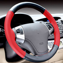 CNIKESIN Steering-Wheel 38CM 100% Top Layer Leather Black Red Braid on the Steering Wheel Cover For Lada Toyota BMW Mazida Skoda