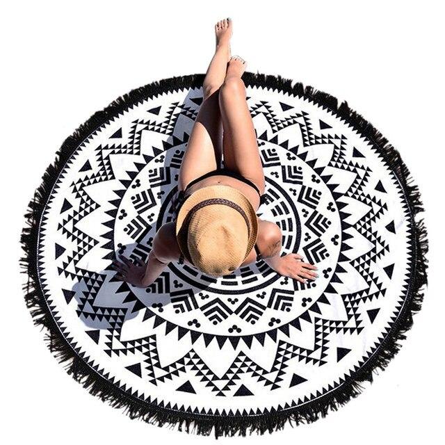 2017 Round Hippie Tapestry Beach Throw Roundie Mandala Towel Women Ladies Beach Cover Up Scarf Pashmina with Tassel