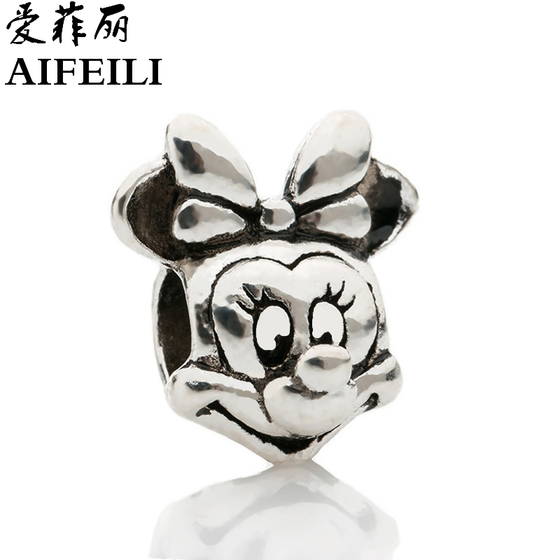AIFEILI New Free Shipping Silver Color Bead Charm European with Mickey cartoon Charm Pendant Bead Fit Pandora Bracelet