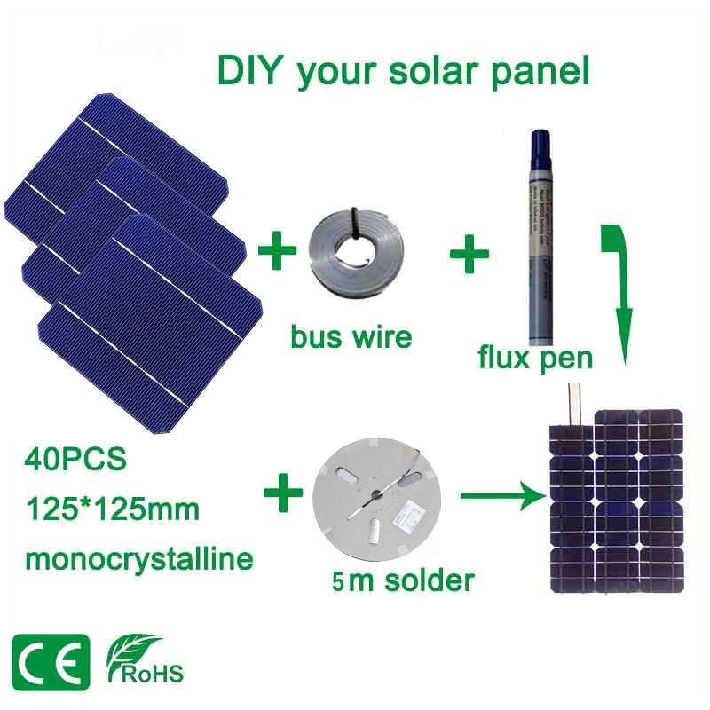 BOGUANG 100W DIY Solar Panel Charger Kit 40Pcs Monocrystall Solar Cell 5x5 With 20M Tabbing Wire