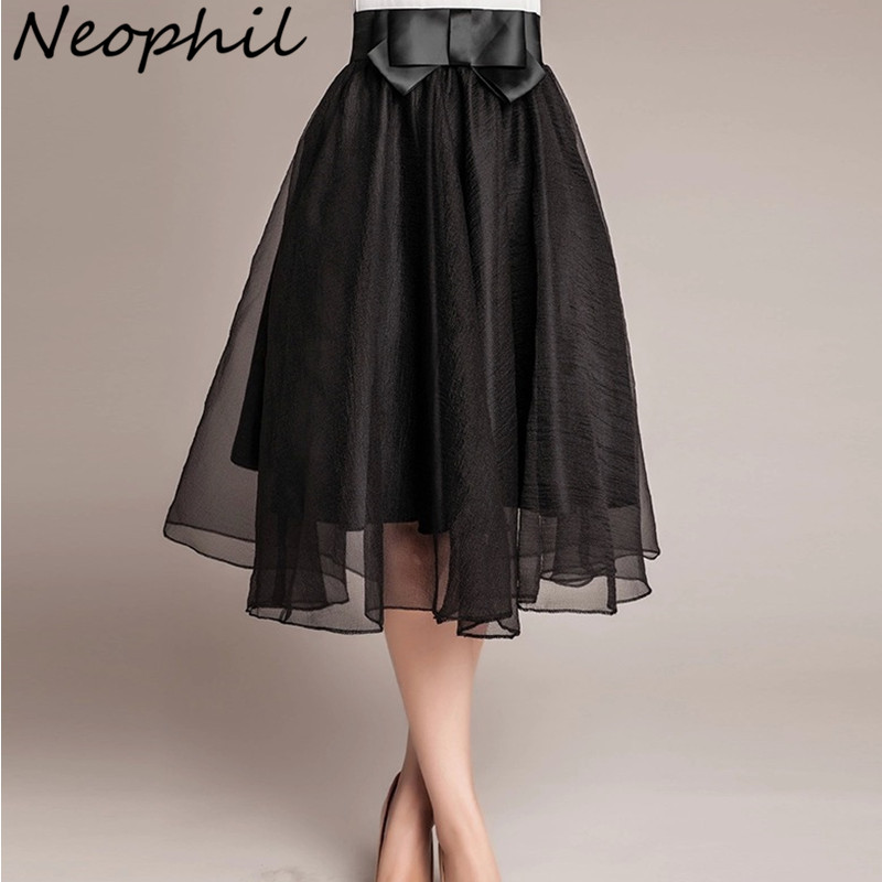 Neophil 2019 Vintage Black Pink Tulle High Waist Bow Midi Skirts Girls Women Organza Mesh Pleated Ball Gown Fluffy Jupes S08014