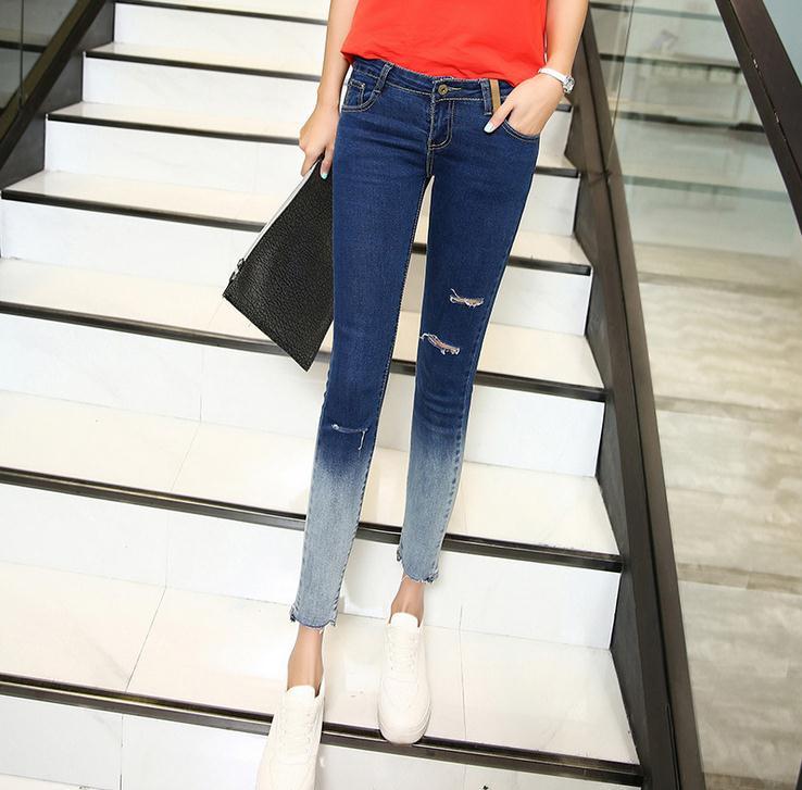 AS47 Printemps Été Nouveaux Jeans Femmes Cheville-Longueur Droite Mi Taille  Jeans Mode Terminé couleur Ripped Skinny Jeans 0c13d442fdd